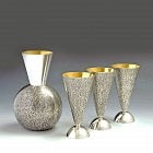 Sterling silver carafe & flutes oxidized